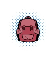 Backpack school comics icon vector