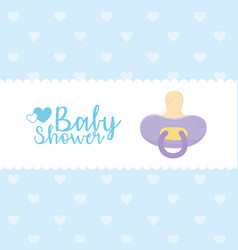 Bashower purple pacifier dotted background vector