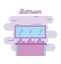bathroom three sink furniture and mirror vector image
