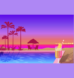 Beautiful summer sunset on cute beach color banner vector