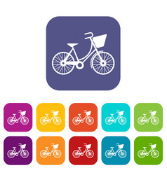 bike with luggage icons set vector image