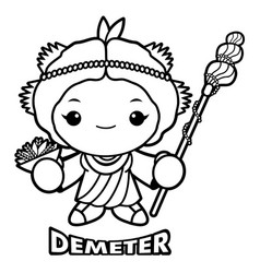 Black and white agricultural goddess demeter vector