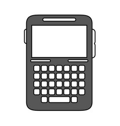 Blank screen cellphone with buttons icon image vector