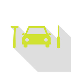 car tire repair service sign pear icon with flat vector image