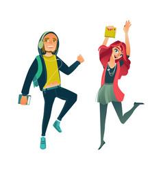 Cartoon young teen students jumping set vector
