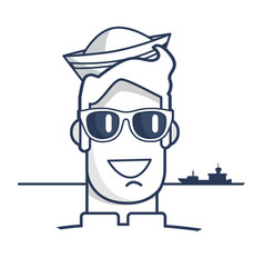 cheerful sailor in sunglasses outline portrait vector image