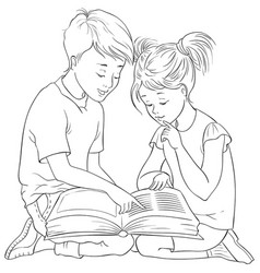 Children read book coloring page vector