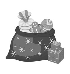christmas gift bag single icon in monochrome style vector image