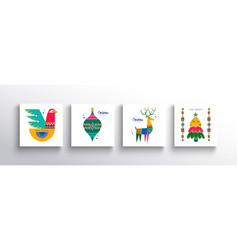 christmas new year folk nordic art animal card set vector image
