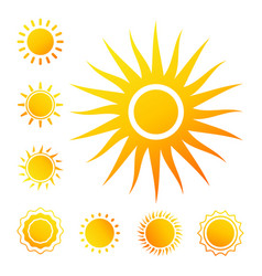 colorful sun icons isolated on white vector image