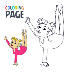 coloring page with woman ballet cartoon vector image
