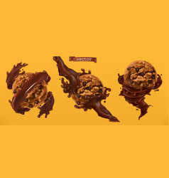 cookies and chocolate splashes 3d realistic vector image
