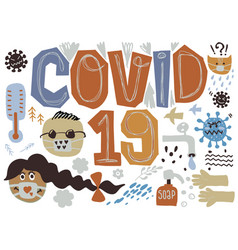 Coronavirus outbreak doodle drawing collection vector