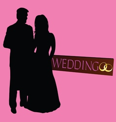 couple wedding silhouette with rings vector image