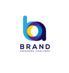 creative letter ba logo design elements vector image