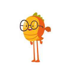 Cute fish monster in glasses funny friendly vector