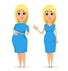 cute pregnant woman in blue dress beautiful blond vector image