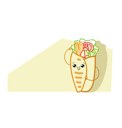 cute shaurma burrito cartoon comic character vector image