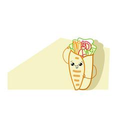 cute shaurma burrito cartoon comic character with vector image