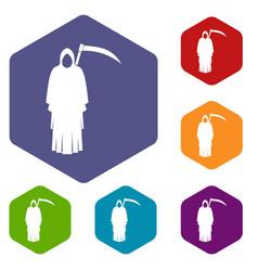 death with scythe icons set hexagon vector image