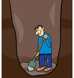 digging man cartoon vector image
