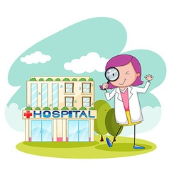 Doctor working at the hospital vector