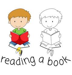 doodle boy reading a book vector image