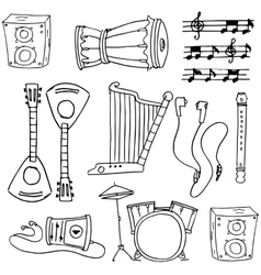 Doodle of object tools music vector