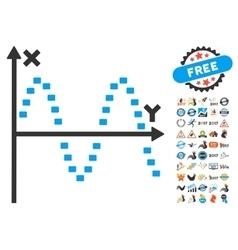 Dotted Sine Plot Icon With 2017 Year Bonus Symbols vector