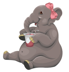 Elephant eats yogurt vector