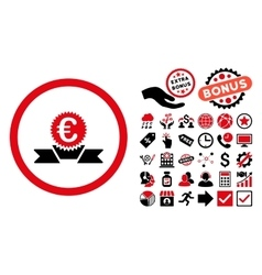 Euro Award Ribbon Flat Icon with Bonus vector image