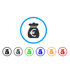 euro money bag rounded icon vector image