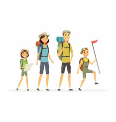 Family goes hiking - cartoon people characters vector