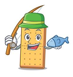 Fishing graham cookies mascot cartoon vector