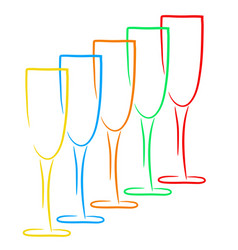 five champagne glasses business logo winery vector image