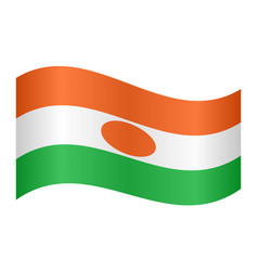 Flag of niger waving on white background vector