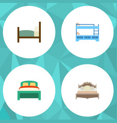 Flat mattress set of bunk bed furniture bed and vector