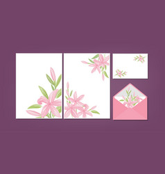 floral background template collection vector image