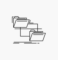 Folder file management move copy line icon vector
