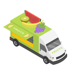 fruits truck icon isometric style vector image