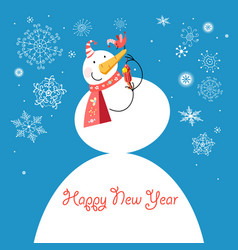 funny snowman with a bird vector image
