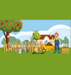 gardener homestead icons set cartoon style vector image
