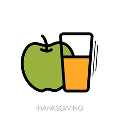 Glass of fresh apple juice icon Thanksgiving vector