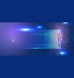 glowing man figure on futuristic background vector image
