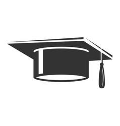 graduation student cap black icon ceremony hat vector image