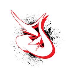 graffiti alphabet letter j against a background vector image