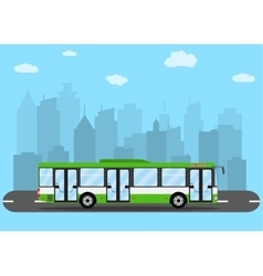 Green city bus in front of city silhouette vector image