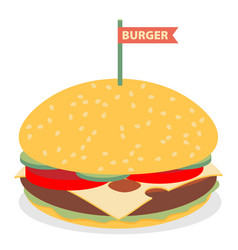 hamburger flat design vector image