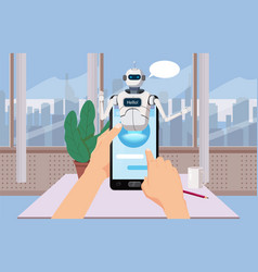 hands hold smartphone free chat bot robot virtual vector image