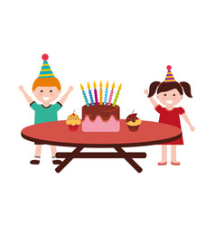happy boy and girl birthday cake on table vector image